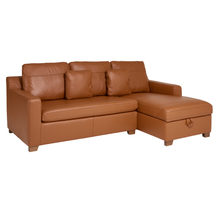 Ankara leather right hand corner sofa bed with storage tan