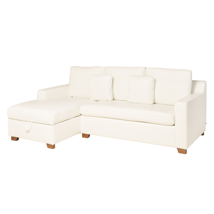 Ankara leather left hand corner sofa bed with storage brilliant white