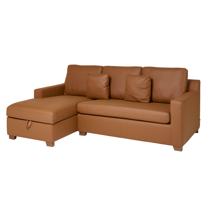 Ankara faux leather left hand corner sofa bed with storage tan
