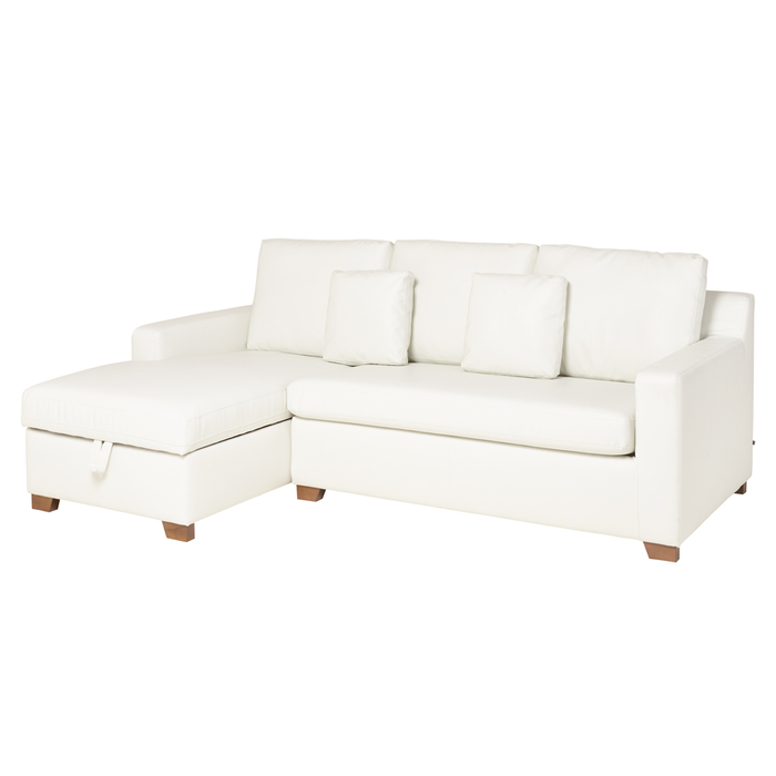 Ankara faux leather left hand corner sofa bed with storage brilliant white