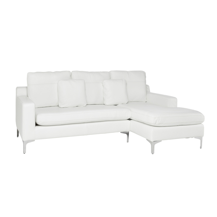 Oslo leather right hand corner sofa off white