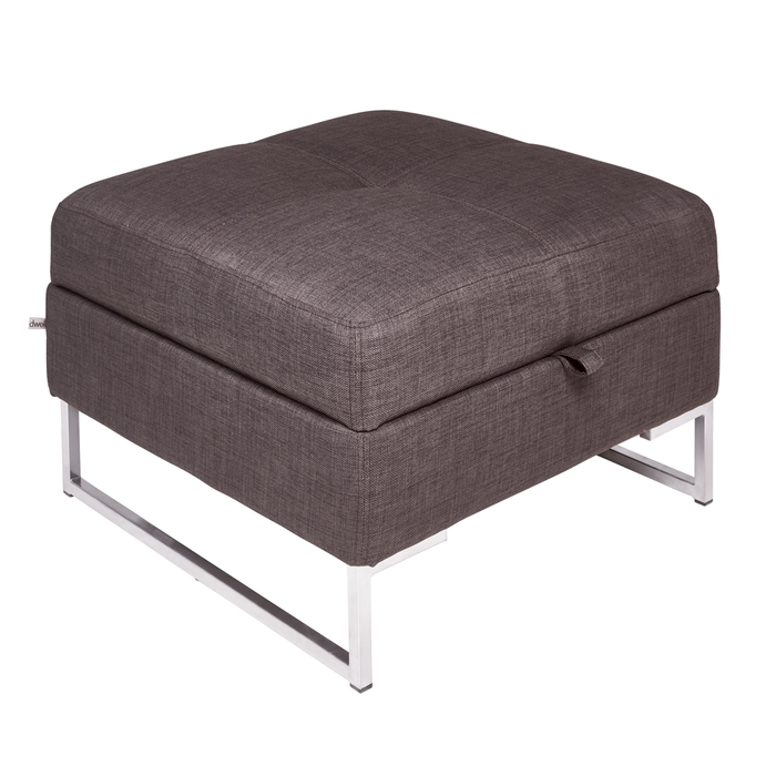 Vienna fabric storage footstool truffle