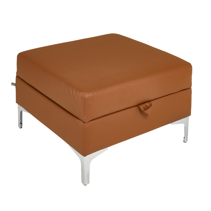 Oslo leather storage footstool natural tan