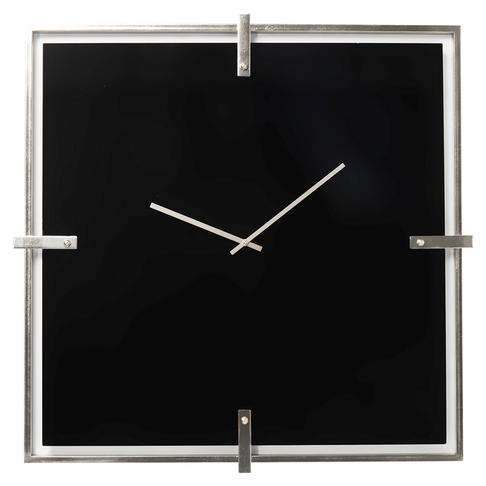 Square glass clock black large
