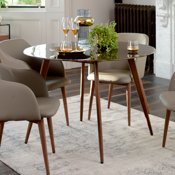 Lucerne mocha marble 4 seater dining table round