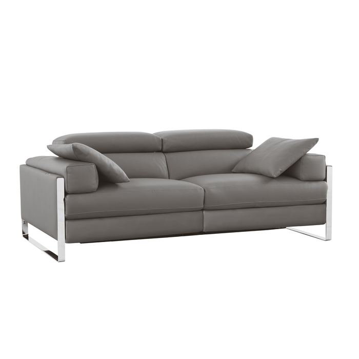 Rimini reclining leather medium sofa grey