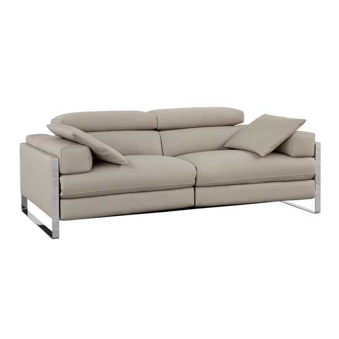 Rimini reclining leather medium sofa light grey