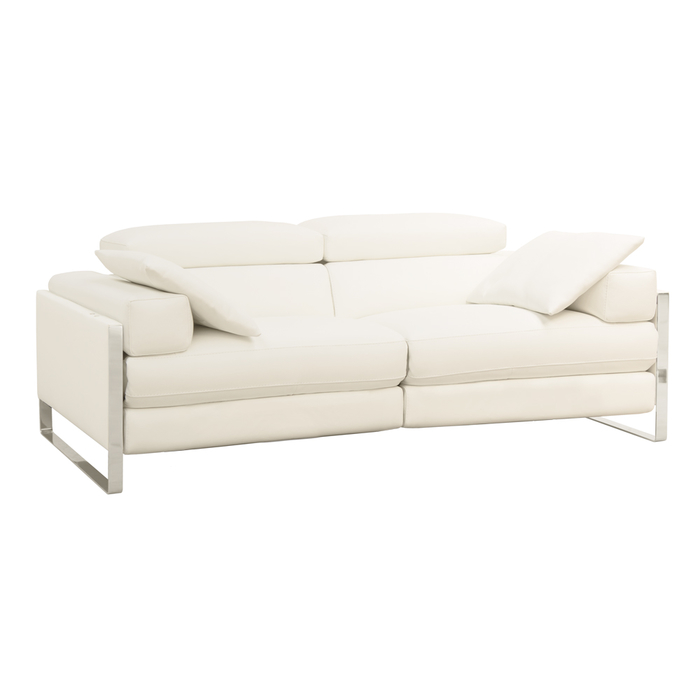 Rimini reclining leather medium sofa white
