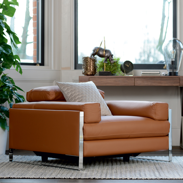 Rimini reclining leather armchair tan