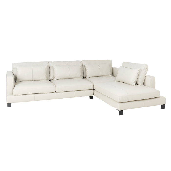 Lugano leather right hand corner sofa stone