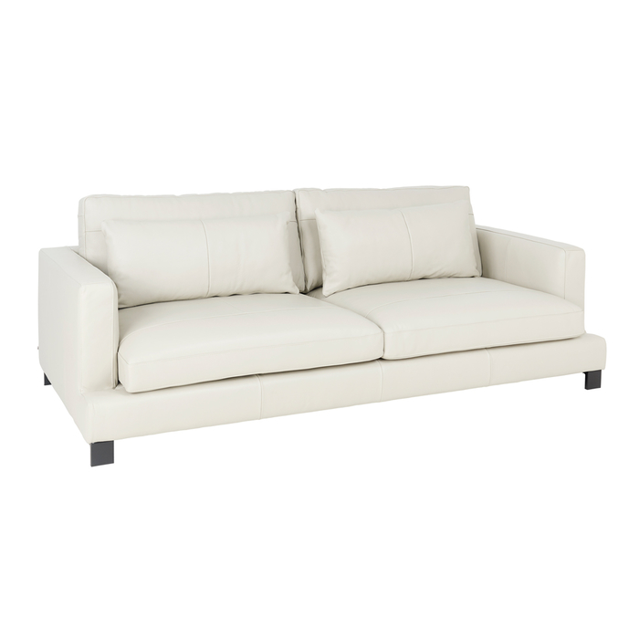 Lugano leather four seater sofa stone