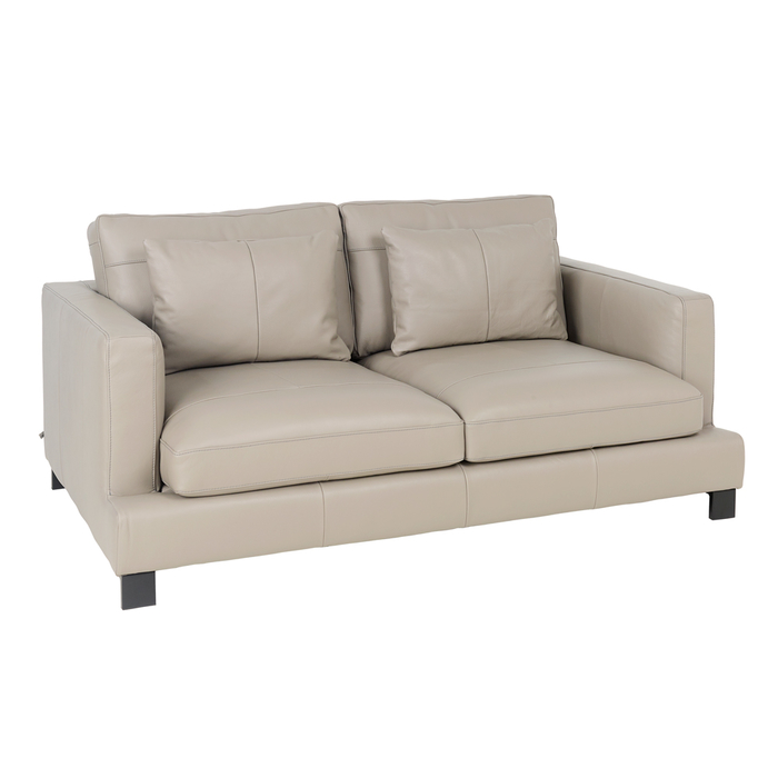 Lugano leather two seater sofa dove grey