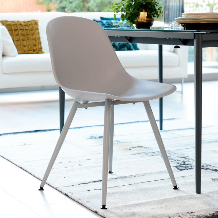 Treviso dining chair light grey with light grey leg