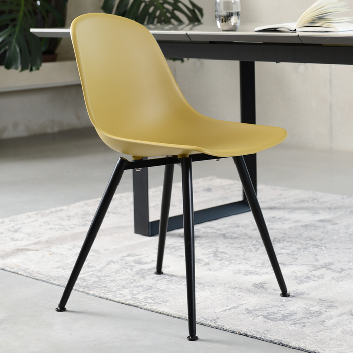Treviso Dining Chair Mustard With Black Leg | dwell