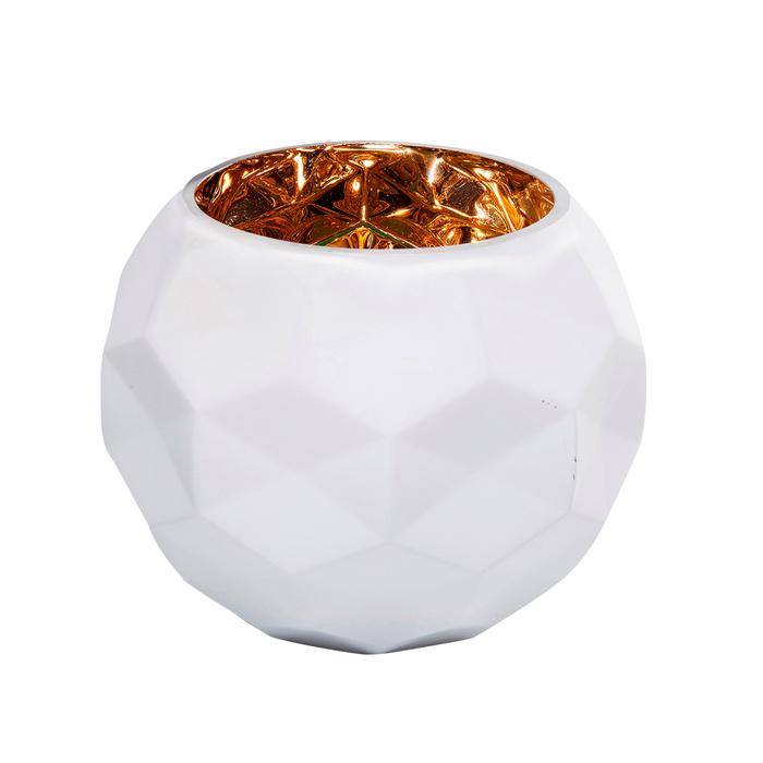Vaso round glass vase white