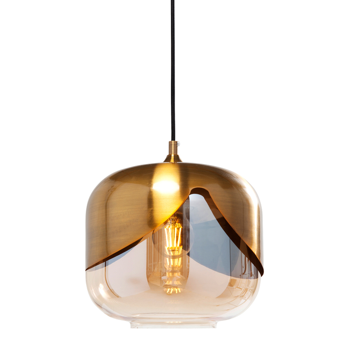 Gold overlay pendant light round