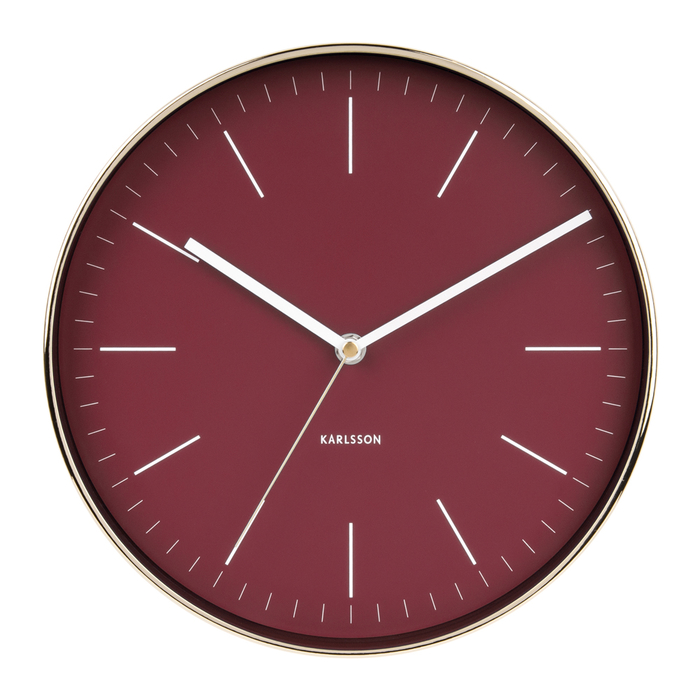 Minimalist wall clock burgundy