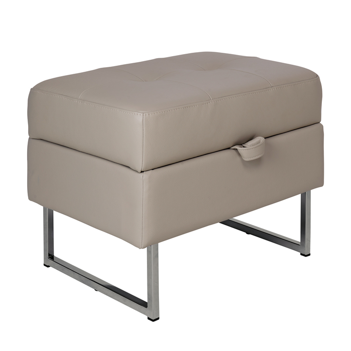 Paris leather storage footstool dove grey