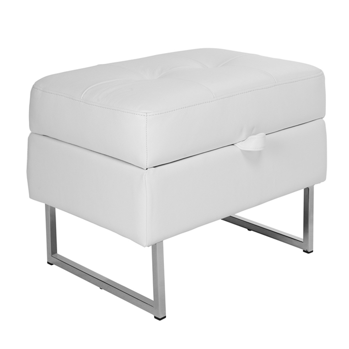 Paris leather storage footstool brilliant white