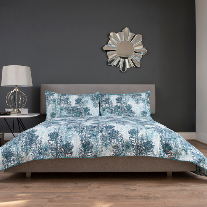 Feathers duvet set king blue