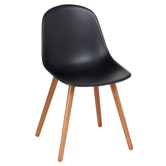 Treviso dining chair with walnut leg black