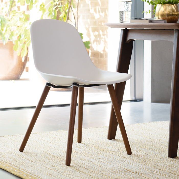 Treviso dining chair with walnut leg white