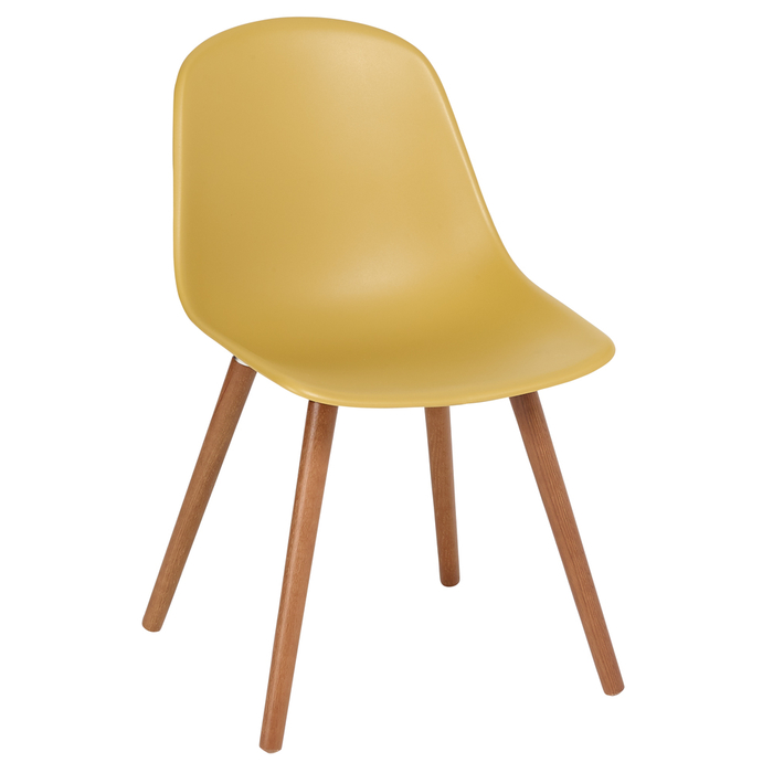 Treviso dining chair with walnut leg mustard
