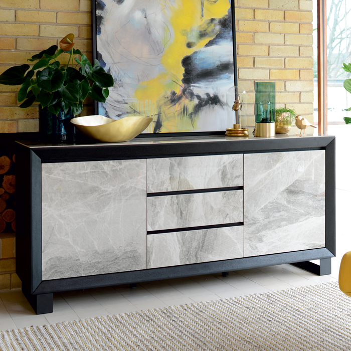 Reno sideboard light grey marble ceramic
