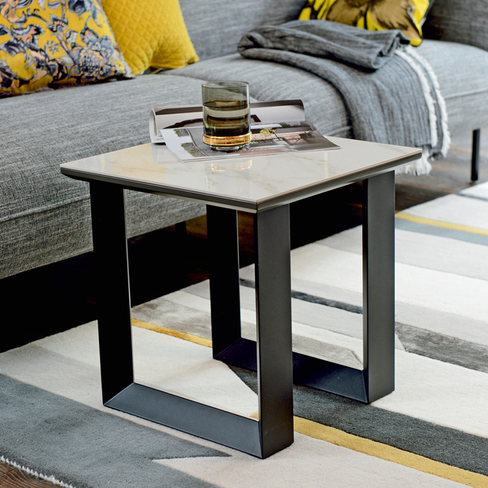 Reno side table white marble ceramic