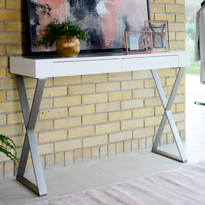 Crossed leg console table white