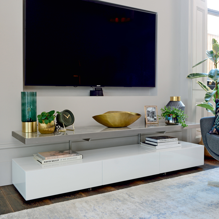 Floating Shelf Tv Unit White And Light Grey Ceramic Dwell