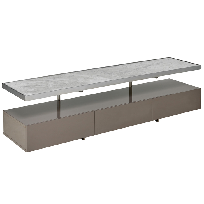 Floating shelf TV unit stone and grey marble ceramic