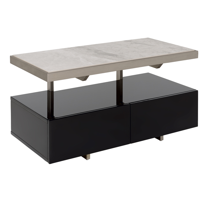 Floating compact TV unit black and light grey marble ceramic