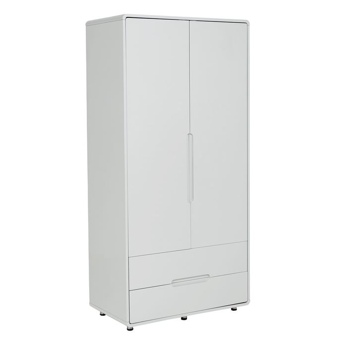 Notch wardrobe two door with drawers light grey