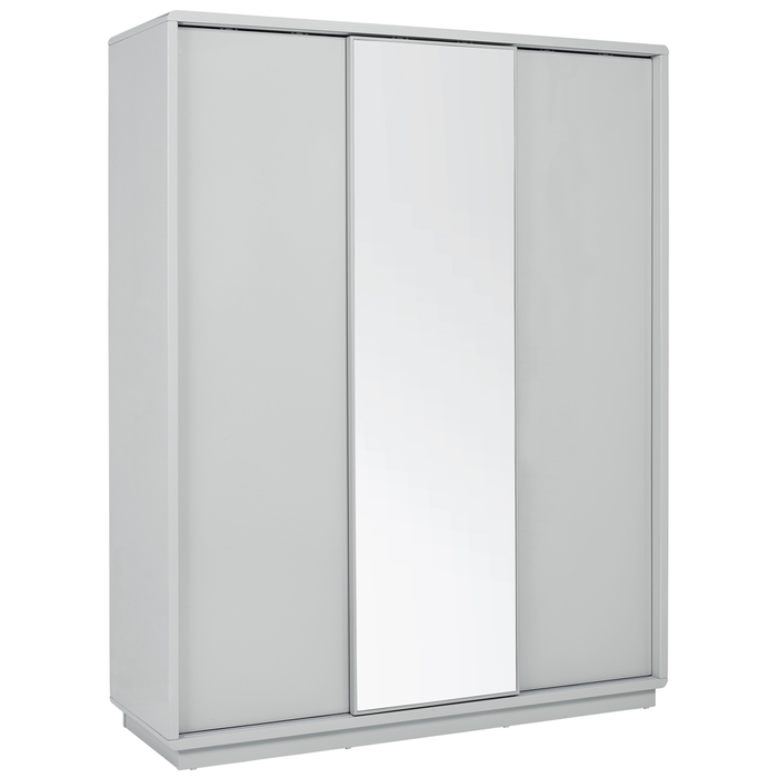 Malone sliding mirror door wardrobe light grey large