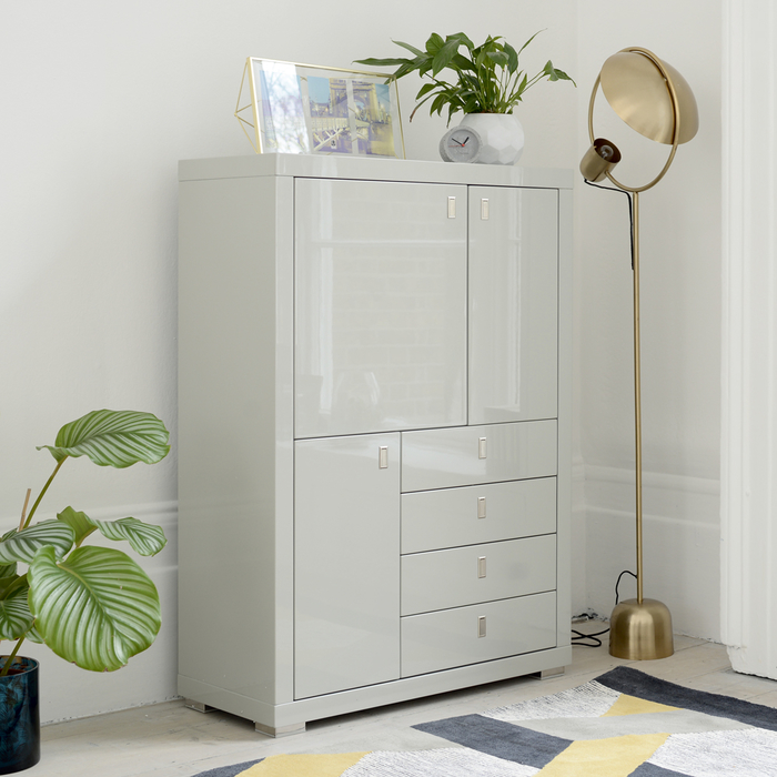 Malone upright sideboard light grey