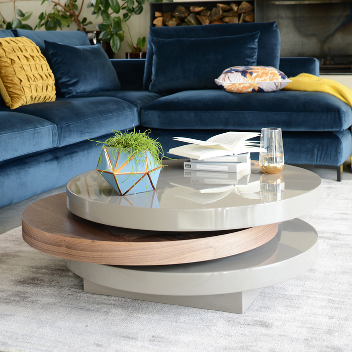 Triplo coffee table stone and walnut