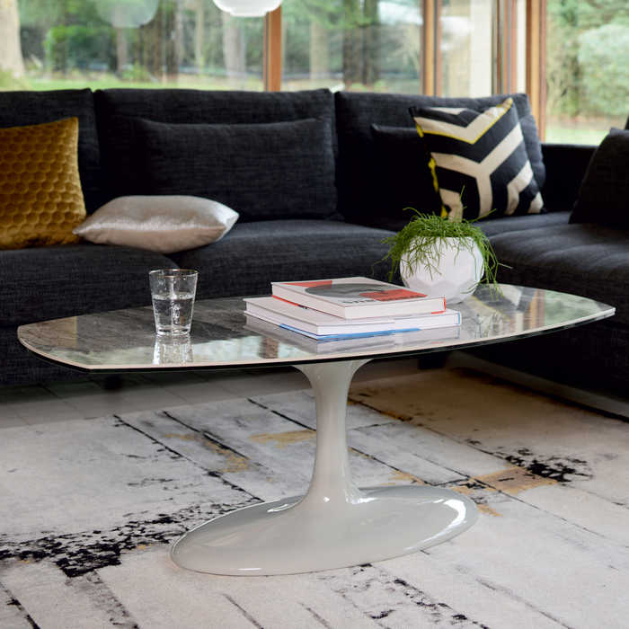 Lille Marble Ceramic Coffee Table Light Grey Dwell 599