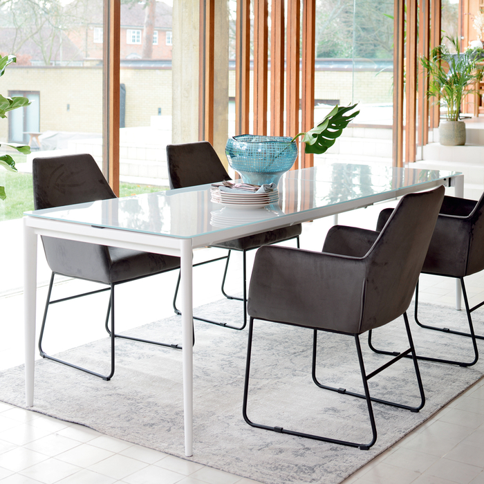 Bari glass double extending 6-10 seater dining table white
