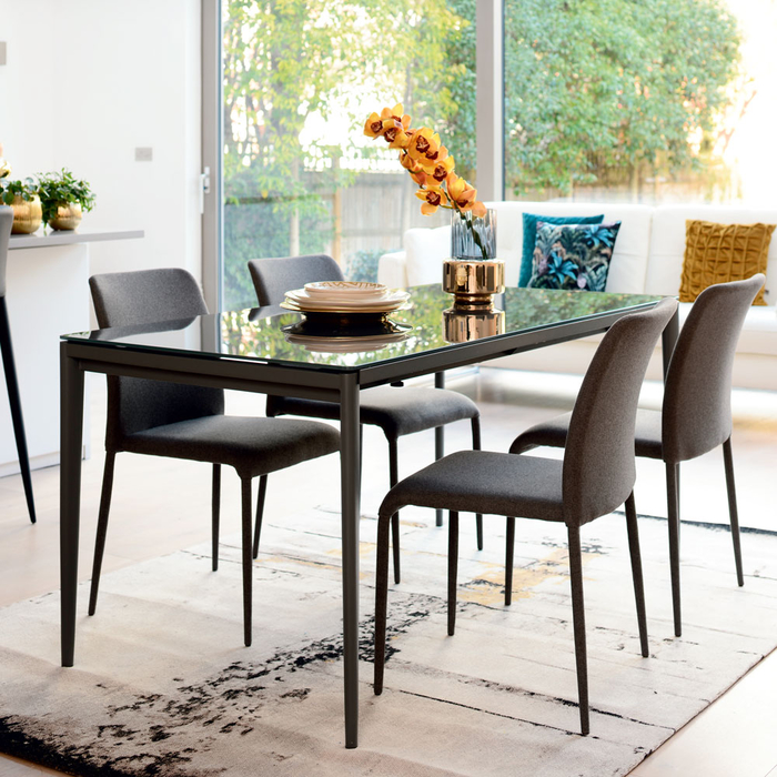 Bari glass double extending 6-10 seater dining table grey