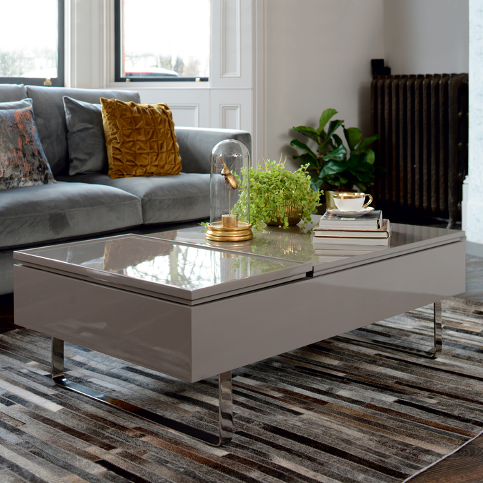 Reveal coffee table double lifting stone