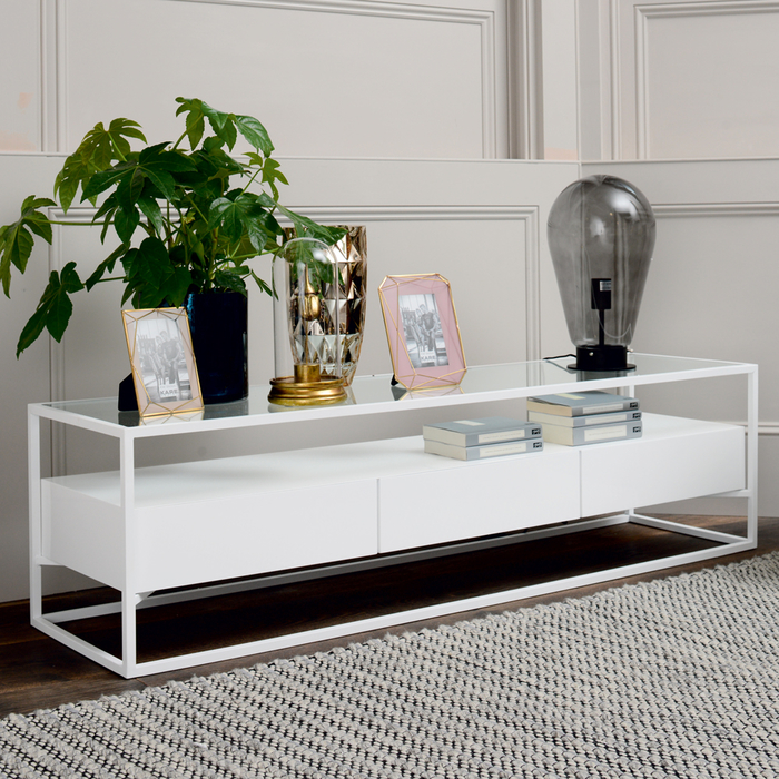 Drift TV unit white gloss
