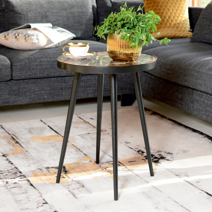 Marbella marble side table mocha