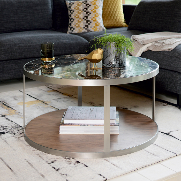 Discus marble and walnut coffee table mocha