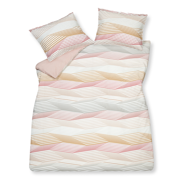 Graphic lines duvet set king pink
