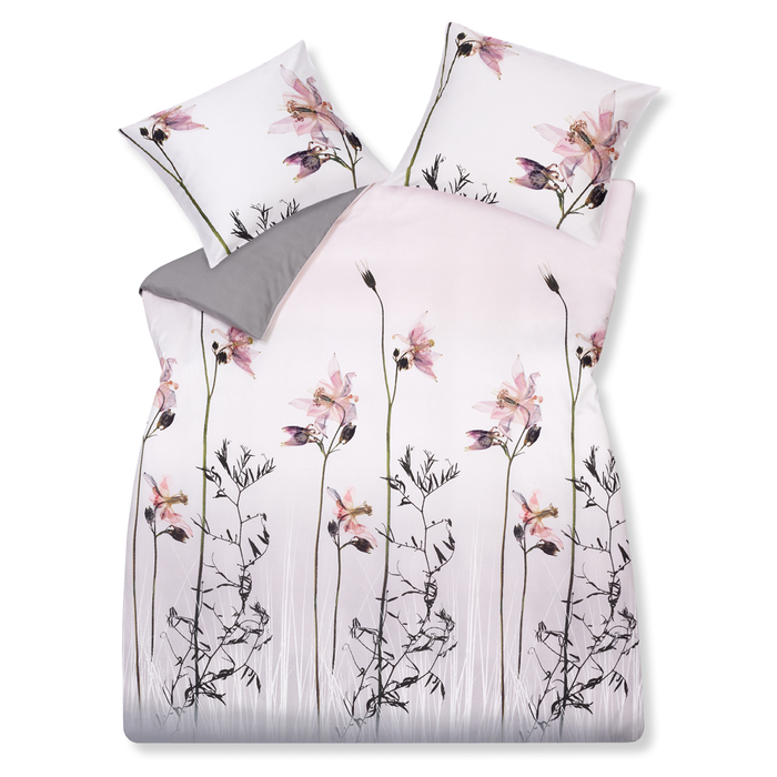 Floral duvet set king grey