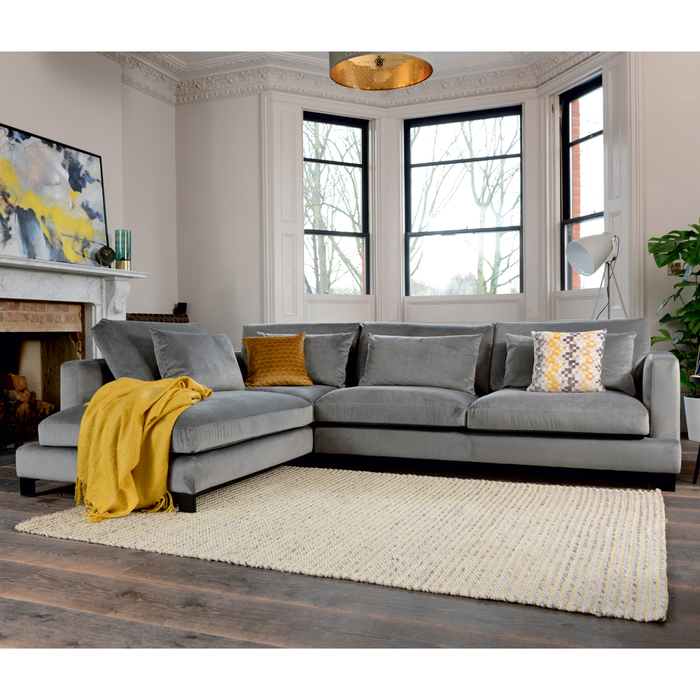 Lugano Left Hand Corner Sofa Grey Velvet | dwell - £1,349