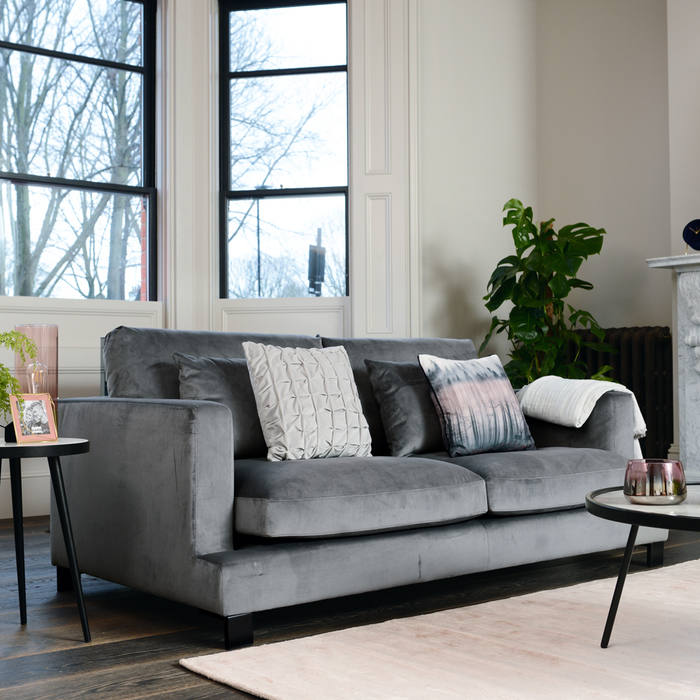 Lugano three seater sofa grey velvet