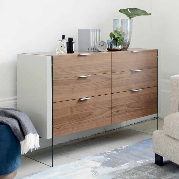 Treble six drawer chest of drawers walnut and light grey