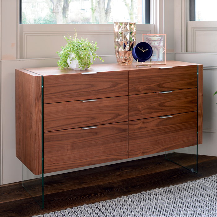 Treble six drawer chest of drawers walnut